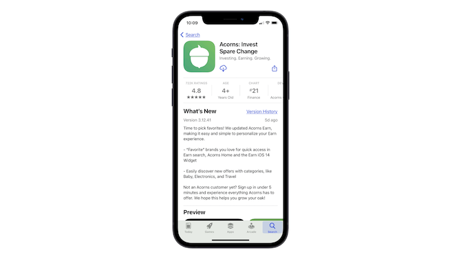 A look at the title section on the Apple app store page for Acorns: Invest Spare Change.