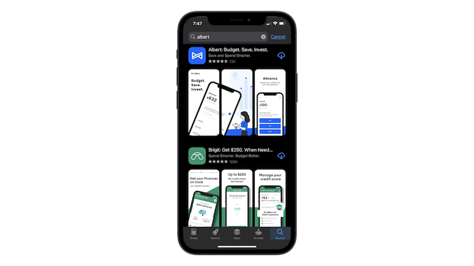 """A search for """"albert"""" in the Apple app store shows the Albert app with 3 preview cards. The first and second cards connect to form a single image."""