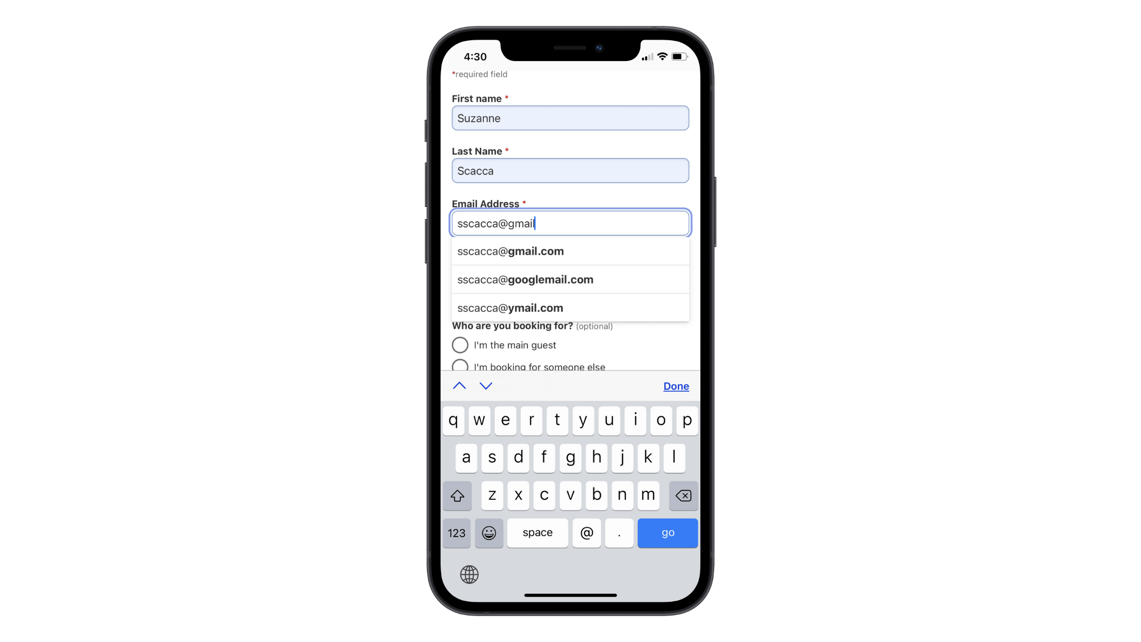 """Booking.com helps users fill out its checkout form with autofill. In this example, the customer has started to fill out their email address. When the """"@"""" is typed, autofill options for @gmail.com, @googlemail.com, and @ymail.com appear."""