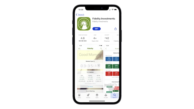 """This is the Apple app store page for Fidelity Investments. The first preview users see is a """"Good Morning"""" screenshot from within the app that shows market data."""