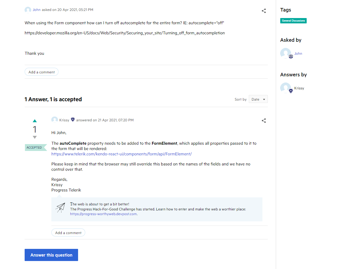Telerik and Kendo UI Forums Thread Answers