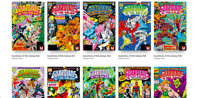 The Marvel website has issues for Guardians of the Galaxy from 1990 to 1994. Each issue contains brightly colored costumed heroes fighting their way around the galaxy.