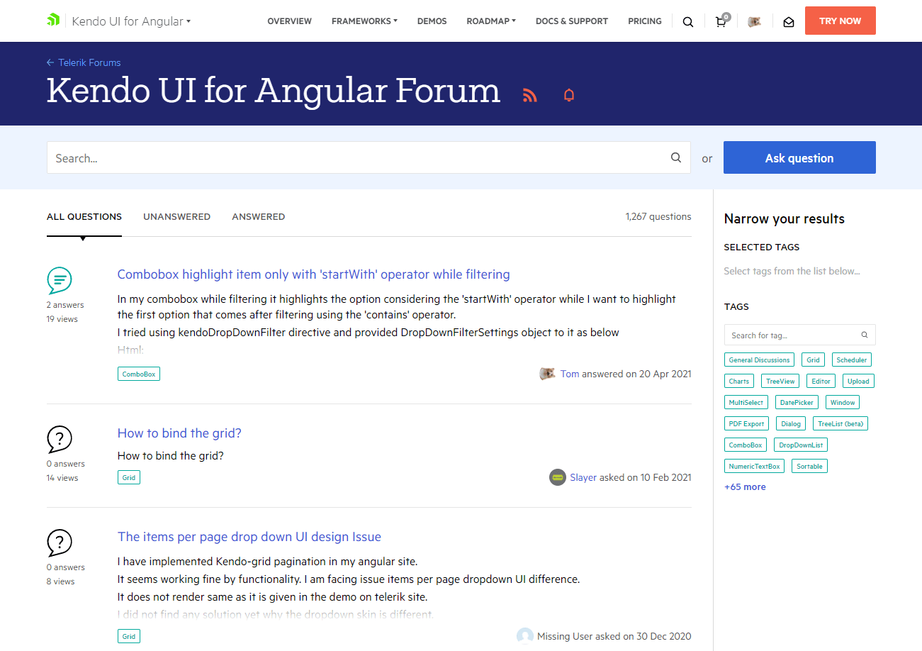 Kendo UI for Angular Product Forums