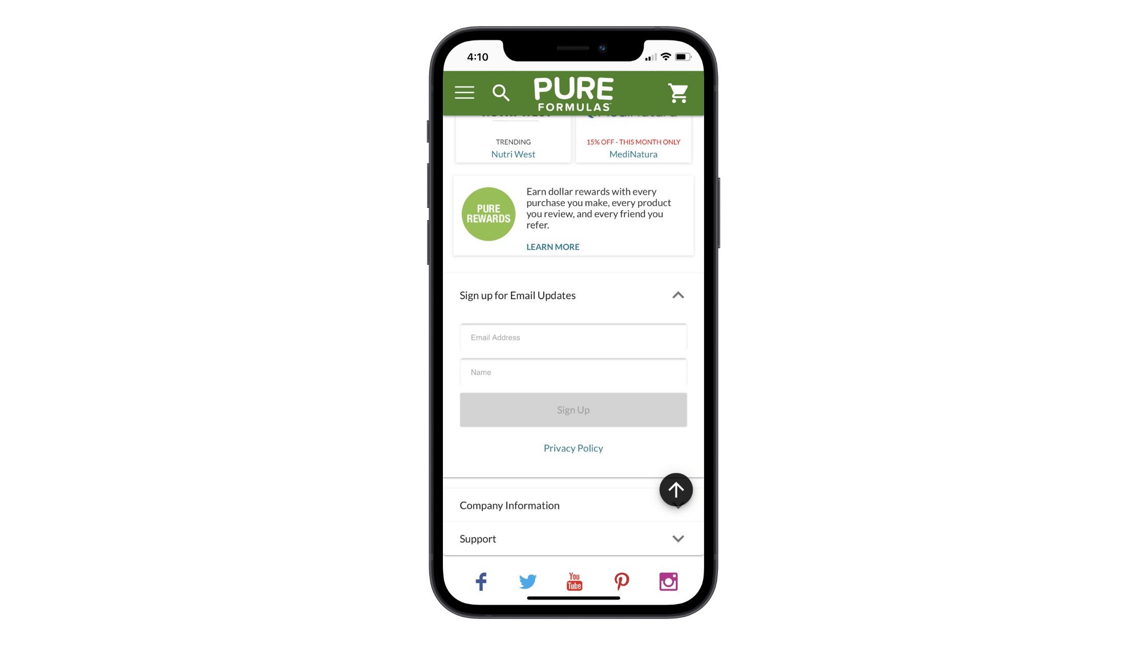 An email subscription form on the Pure Formulas site asks users to fill in their Email Address and Name to sign up.