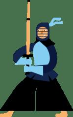 KendoReact Kendoka, an illustrated Japanese martial art warrior holding a bamboo sword and wearing protective armor.