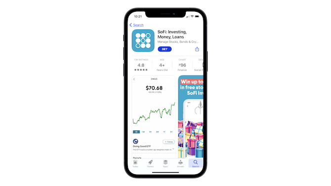 A look at the title section on the Apple app store page for SoFI: Investing, Money, Loans.