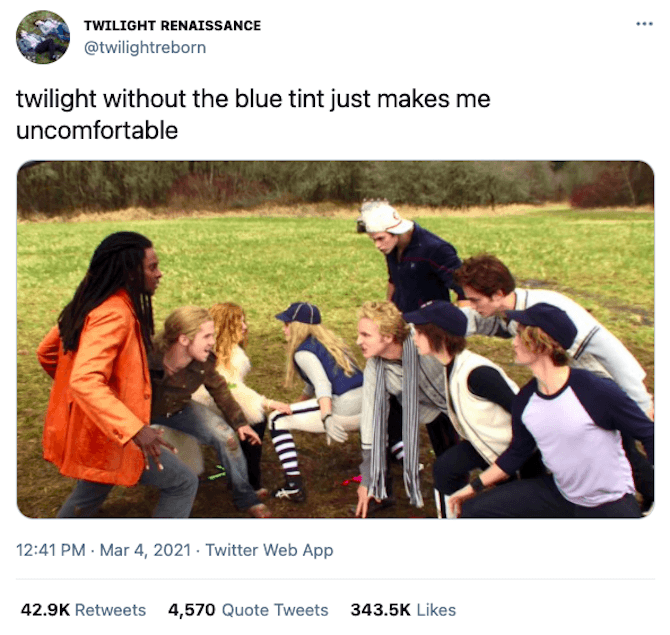 """A tweet from Twitter user @twilightreborn says """"twilight without the blue ting just makes me uncomfortable"""" with a matching still from the movie's infamous baseball scene."""