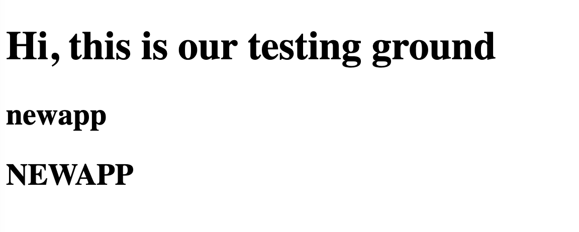 'Hi, this is our testing ground' has an upper case H in 'hi' and the rest are lowercase. 'newapp' all in lowercase. 'NEWAPP' all in uppercase letters.