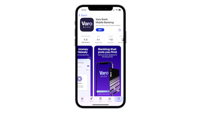 """The last Preview card shown on the Varo Bank app store page says """"Banking that puts you first"""" and it shows its banking card and banking app beneath it."""