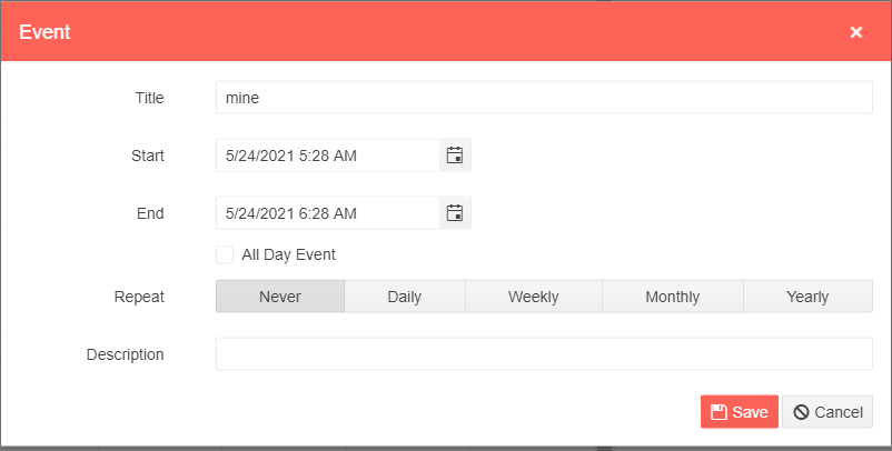 The Scheduler's default appointment dialog showing options to enter a title, a description, start and end dates, whether the activity takes all day, and options for hourly/daily/weekly/yearly re-occurances