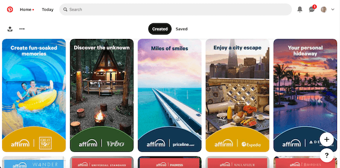 Affirm has designed a variety of Pinterest cards. They all follow the same format — a short string of text at the top, an eye-catching image filling the space, and the Affirm logo next to a partner logo at the bottom.