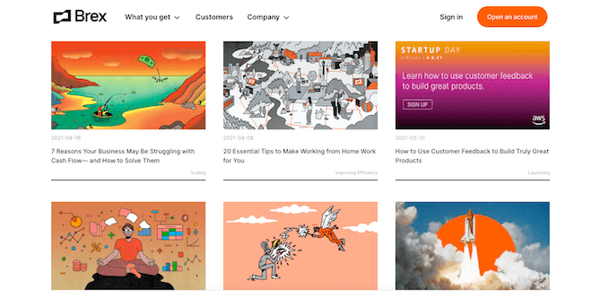 Brex's blog has a set of custom-designed featured images all done in the same cartoonish, sci-fi style.
