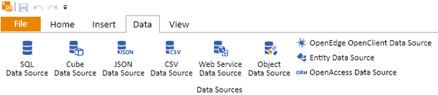 Support for a variety of data sources, including SQL, Cuve, JSON, CSV, Web Service, Object, OpenEdge, Entity, OpenAccess.