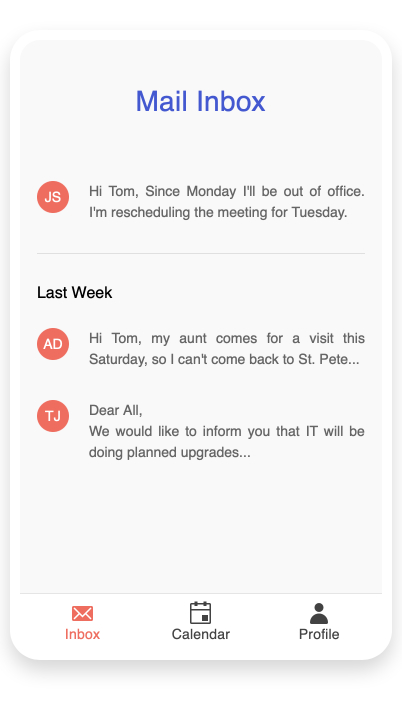 A Mail Inbox is shown on a mobile phone. Three email previews show, and at the bottom is navigation. Inbox, Calendar and Profile each have an icon and a label, and Inbox is currently selected, shown in pink rather than the black of the other two.