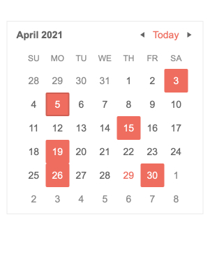 In a simple overview calendar of April 2021, some dates are highlighted with a pink box: 3, 5, 15, 19, 26, 30.