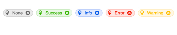 Kendo UI for Vue Chip Component shows five chips, similar to buttons, that are rounded rectangles. Each has a map pin icon on the left and an X button on the right.  They are None in gray, Success in green, Info in blue, Error in red, and Warning in yellow.