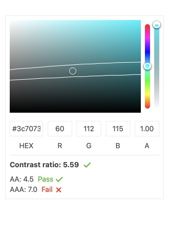 KendoReact ColorPicker Component is open with its color selection tools including HEX and RGB. The color is set to a turquoise. The contrast ratio is displayed: 5.59, and the AA guidelines of 4.5 show pass, while AAA guidelines of 7.0 Fails.