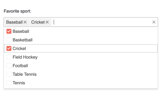 Under 'Favorite sport', a search bar has two items set: baseball and cricket. Below, those two items have a checkmark in an alphabetical list of others sports that are not checked: basketball, field hockey, football, etc.