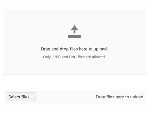 A large rectangle has an up arrow of a horizontal line. It says 'Drag and drop files here to upload. Only JPEG and PNG files are allowed.' A separate box has a Select files button and text that says 'Drop files her to upload'.