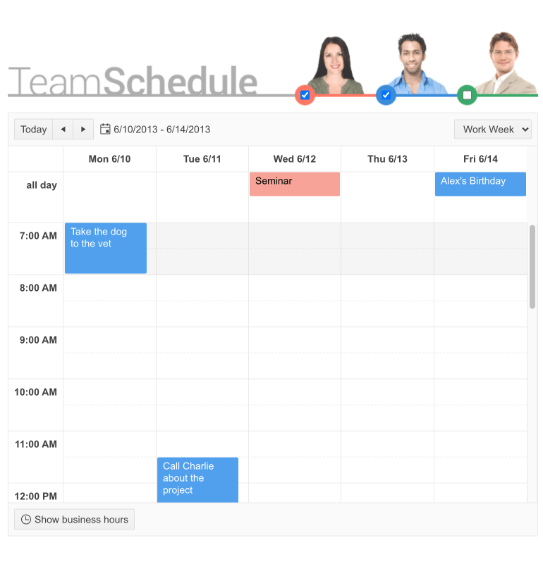 In a weekly team calendar, a 25-hour dev hackathon is shown as an event running in a vertical bar from 9am on Monday through 10am Tuesday.