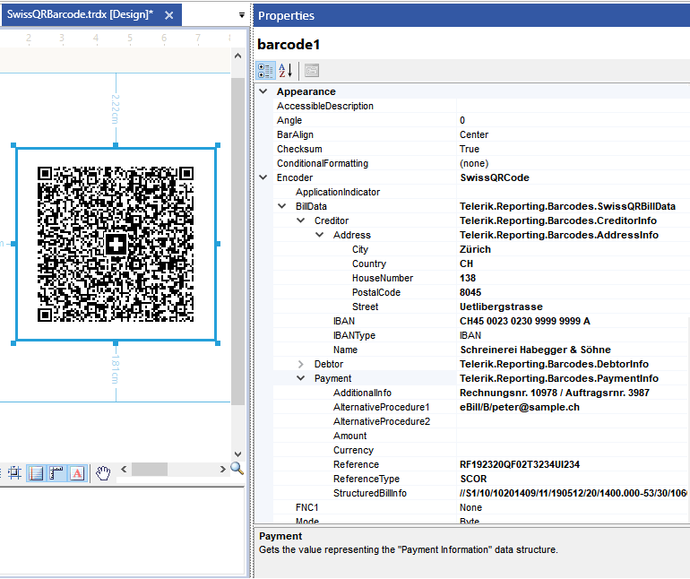 On the left is the Swiss QR code design, with the recognizable Swiss cross in the center. On the right, a properties window shows details including BillData for the Creditor and the Payment.