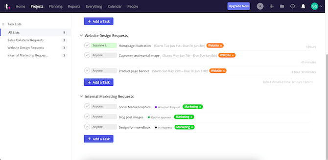 Teamwork users can schedule their projects in an organized manner, creating different folders per project and then adding phases to stay organized. In this example, we see the job broken up by Website Design Requests and Internal Marketing Requests. Each has 3 tasks.