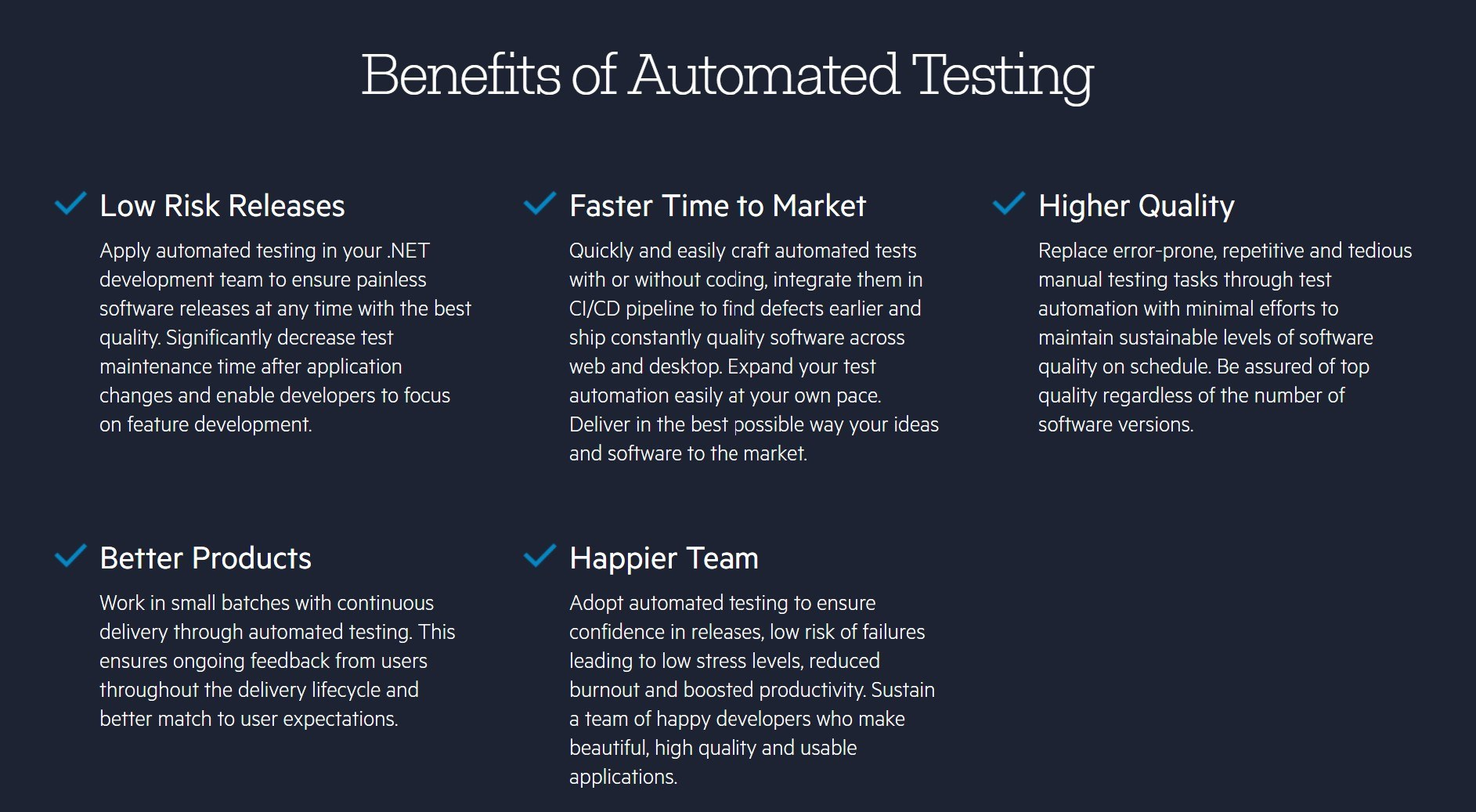 Benefits of automated testing: low risk releases, faster time to market, higher quality, better products, happier team
