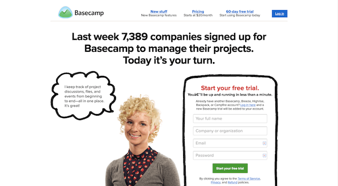"""The homepage of the Basecamp website in 2013 touts """"Last week 7389 companies signed up for Basecamp to manage their projects. Today it's your turn."""" A friendly-looking blond woman talks directly to visitors — in a speed bubble — about using the project management software and a form invites them to """"Start your free trial."""""""