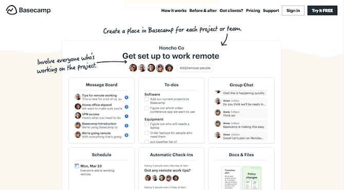 """The Basecamp homepage in 2021 shows prospects what the software's board-based layout looks like with a sample for """"Honcho Co"""" to """"Get set up to work remote""""."""