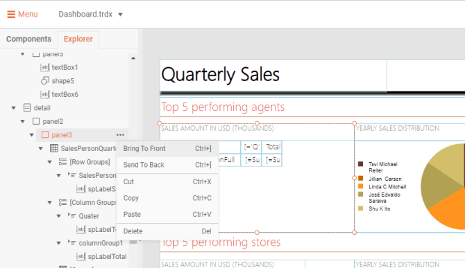 On a Quarterly Sales report, we're in Menu > Explorer > detail > panel3 > three-dot menu. The first two options are Bring to Front and Send to Back.