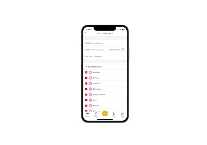 Buddy mobile app users can Edit Categories. They can create new categories as well as remove them. The example here shows various types of entertainment expenses, like bowling, cinema and concert.
