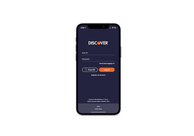 The login screen for the Discover mobile app offers users the option of logging in through Face ID in addition to the usual User ID and Password login form.