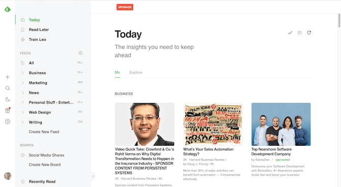 """This is a look at the Today tab in the Feedly app when the user has configured the text size to """"Extra Large""""."""