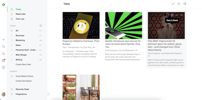 In Feedly, users can hover over content cards and use one of four quick action icons: Bookmark, Save to Board, Mark As Read, or Mark As Read and High