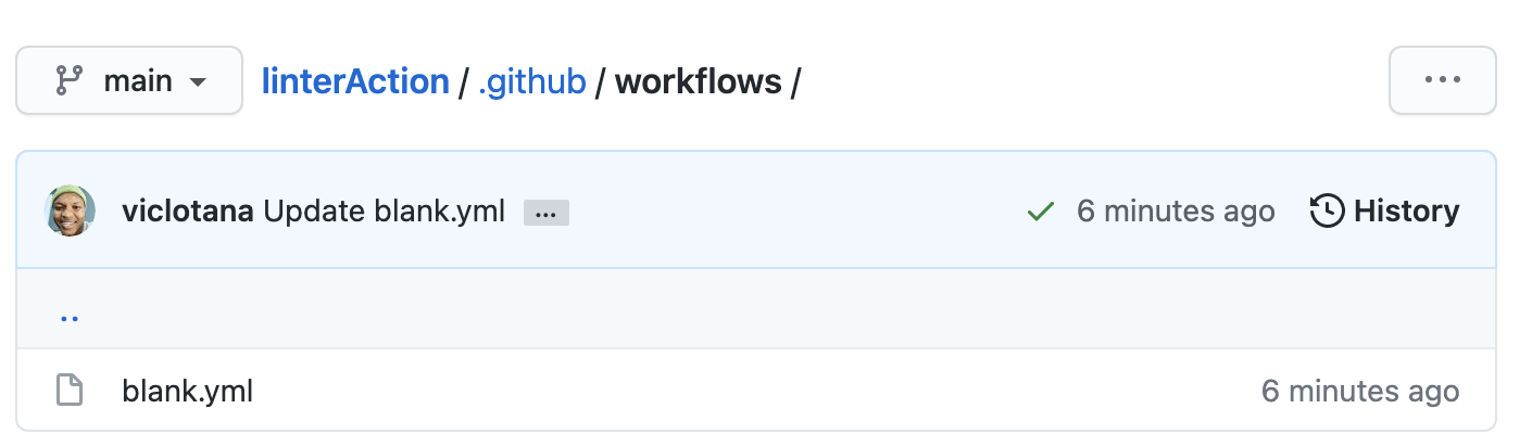 The blank template has been selected in GitHub Action workflows.