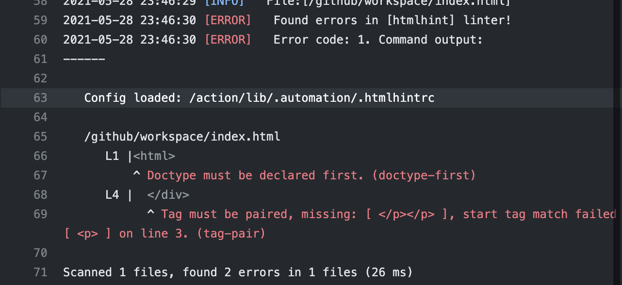 Found errors in [htmlhint] linter! Doctype must be declared. Tag must be paired.