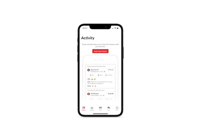 When users first user Honeydue's mobile app, the navigation includes tabs for Activity, Balances, VISA, Chat and More.