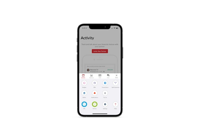 The Honeydue mobile app has a secondary navigation that includes buttons for: Budget, Bills, Transactions, Banks, Notifications, Split Expenses, Tip Jar. There are also buttons for: Me, Partner, Settings and Help.