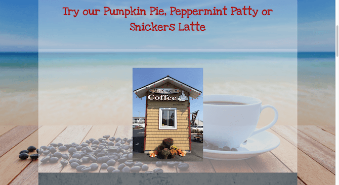 """The website for Mudslingers coffee shack in Rehoboth Beach, DE invites customers to """"Try our Pumpkin Pie, Peppermint Patty or Snickers Latte"""" against a beach backdrop."""