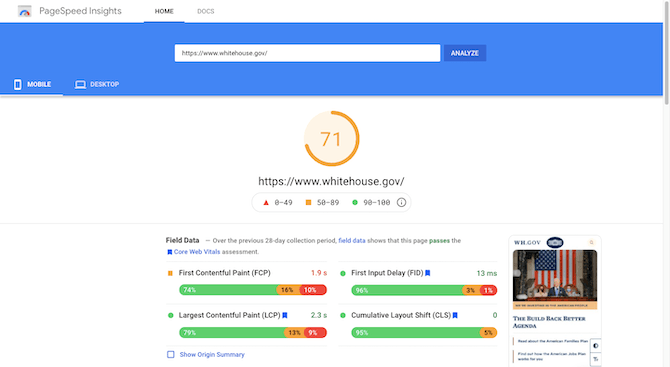 PageSpeed Insights gives the White House mobile site https://www.whitehouse.gov/ a score of 71.