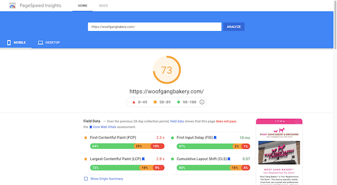 PageSpeed Insights gives the Woof Gang Bakery mobile site https://woofgangbakery.com a score of 73.