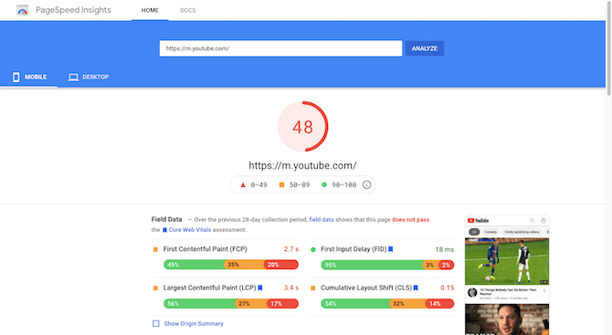 PageSpeed Insights gives the YouTube mobile site https://m.youtube.com a score of 48.
