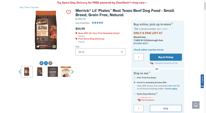 A PetSmart product page for Merrick Lil' Platest Real Texas Beef Dog Food - Small Breed, Grain Free, Natural offers the logged in user a variety of ways to buy the product. They can Buy online, pick up in-store; use curbside pickup, ship as a one time purchase, enroll in autoship & save 30%, or do same-day delivery with DoorDash.