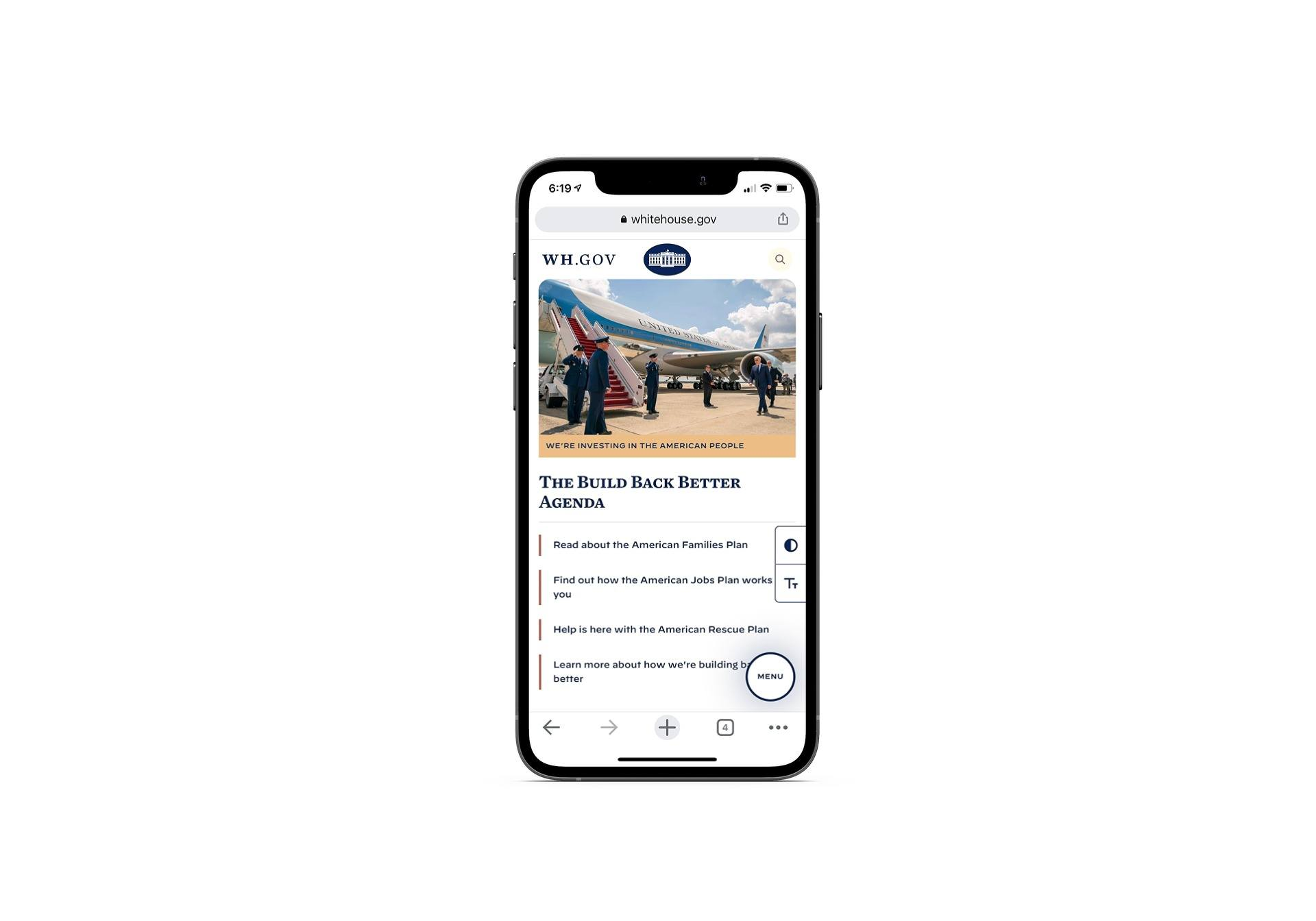 This is the mobile website for the White House.