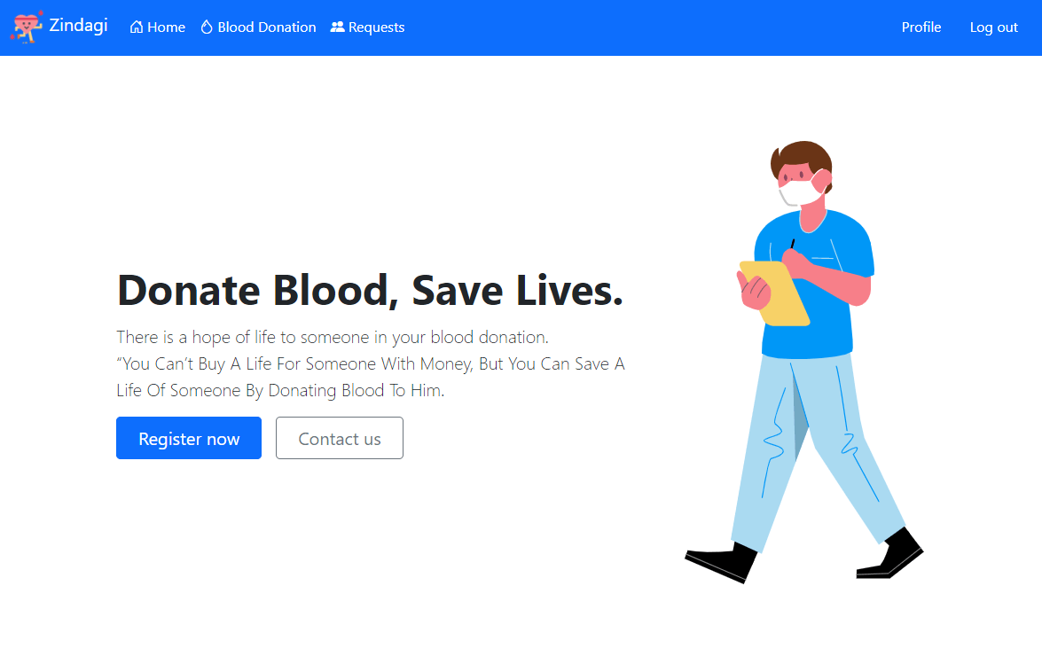 Zindagi homepage says, 'Donate Blood, Save Lives.' and has buttons for Register Now and Contact Us.