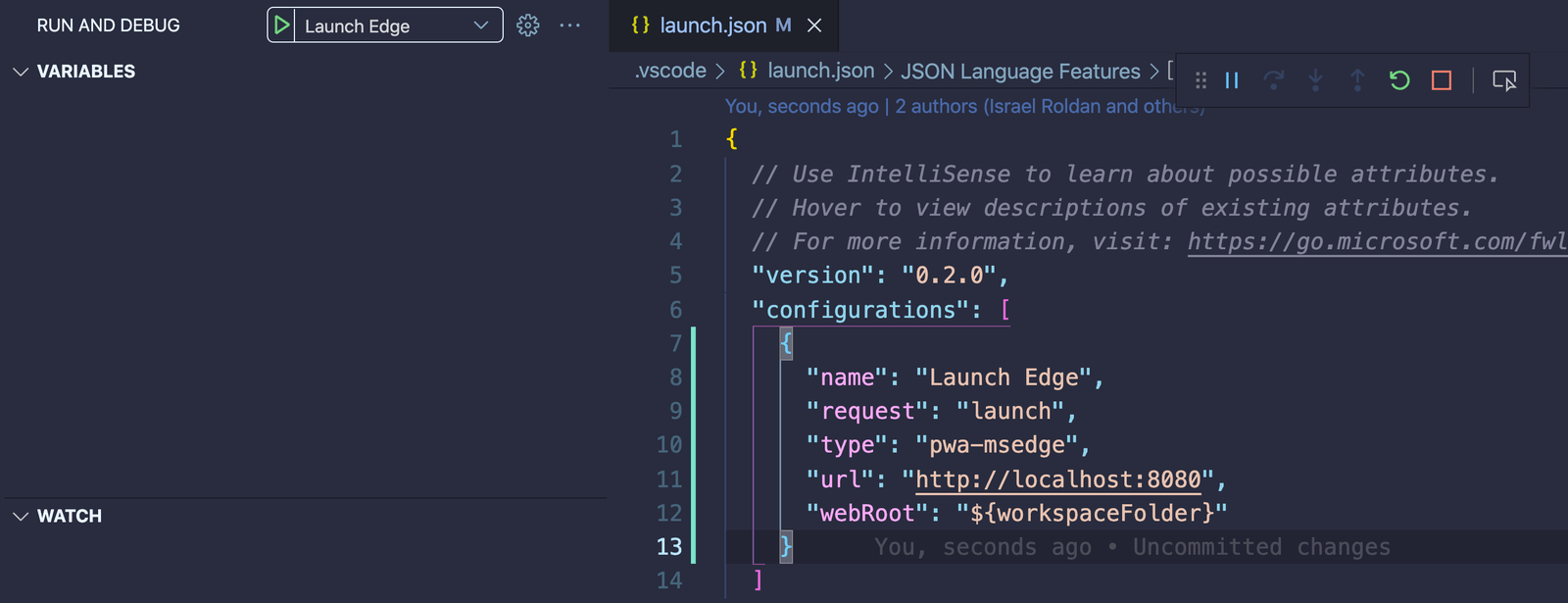 """Setting up  """"type"""":  """"pwa-edge"""" in launch.json enables browser debugging for Edge"""