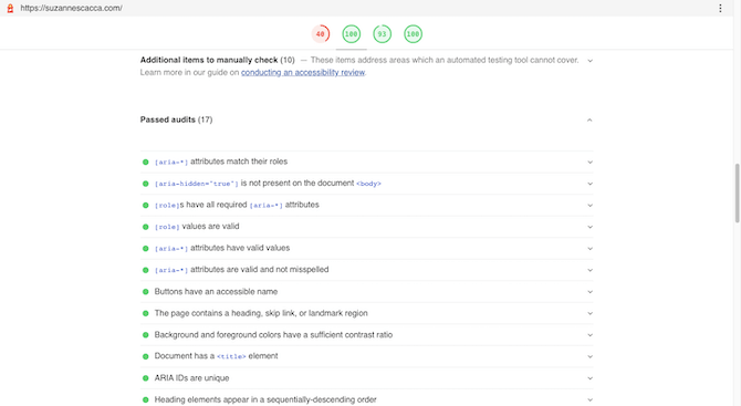 Google's web.dev auditing tool tells users how well their website does in terms of accessibility. They'll see a list of Passed audits and Failed audits related to ARIA attributes, skip links, color contrast, and so on.