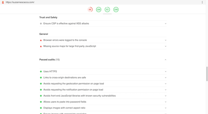 Google's web.dev auditing tool tells users how well their website does in terms of website best practices. They'll see a list of Trust and Security audits, General audits, as well as Passed audits related to factors like HTTPS, vulnerabilities, image aspect ratio, and so on.