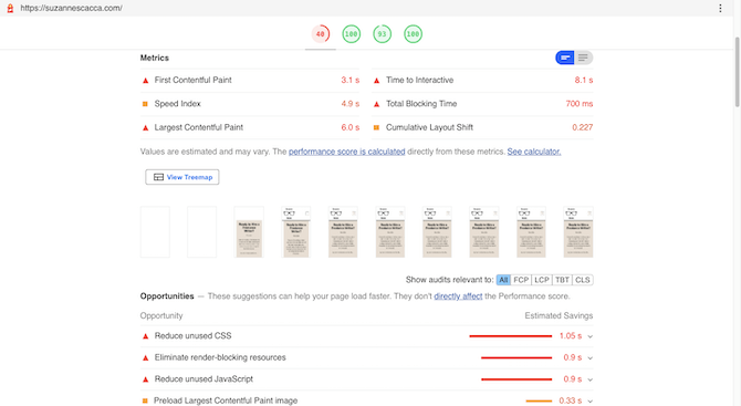 Google's web.dev auditing tool tells users how well their website does in terms of page speed performance. They see metrics related to First Contentful Paint, Speed Index, Largest Contentful Paint, Time to Interactive, Total Blocking Time, and Cumulative Layout Shift.