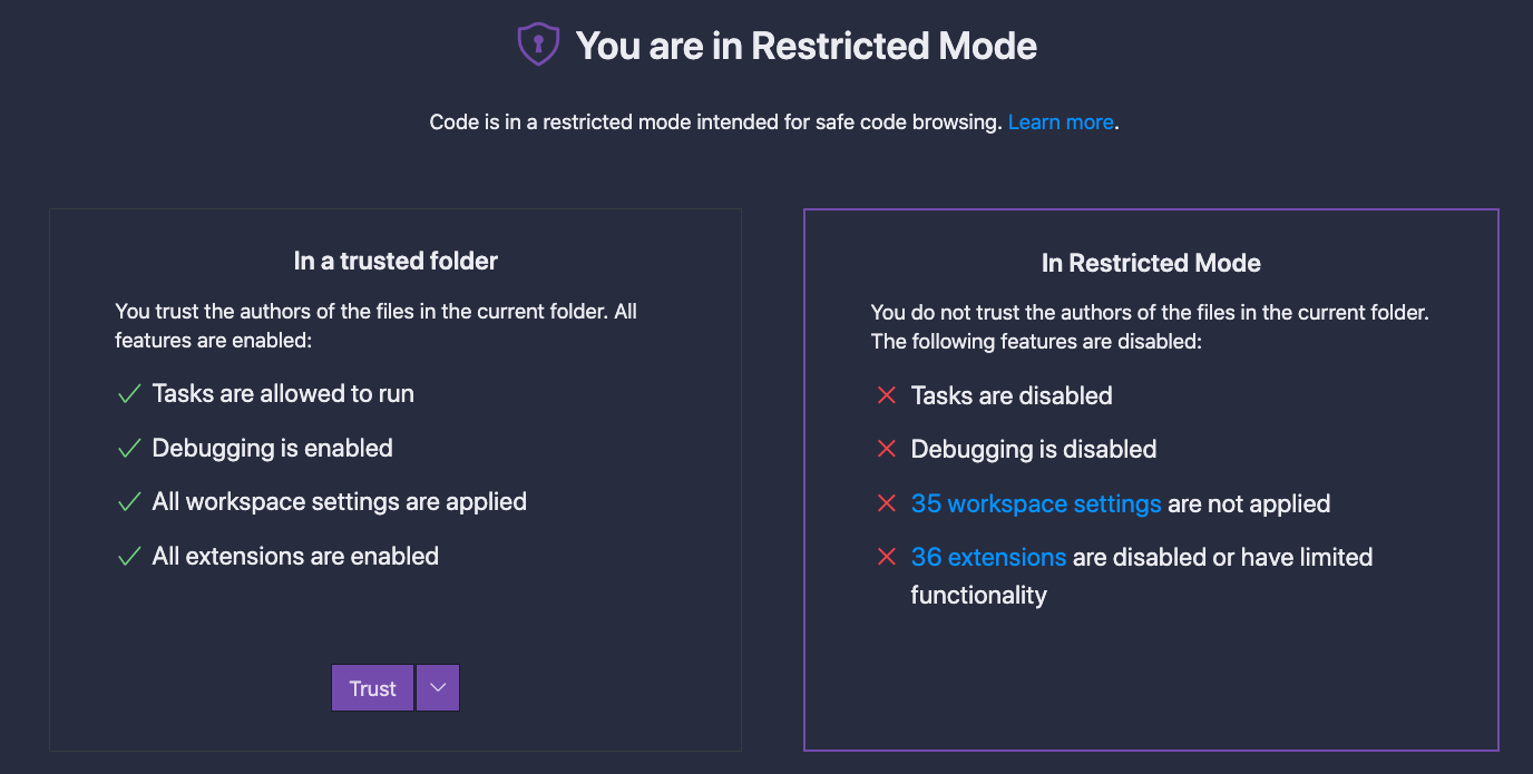 Screen reads,  'You are in Restricted Mode.' Then the left side explains that in a trusted folder, you trust the authors of the files and this enables features: tasks, debugging, workspace settings, extentions. There is a button to Trust, with an arrow button beside it. The right side of the screen explains restricted mode, which is the disabled side of the features. This side is currently selected.